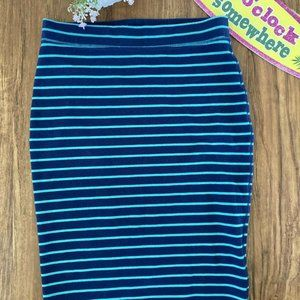 Old Navy Navy Green Striped Knit Pencil Midi Skirt
